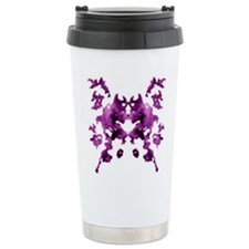 Purple Rorschach inkblot Ceramic Travel Mug