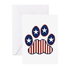 Patriotic Paw Print Greeting Cards (Pk of 20)