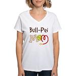 Bull-Pei Dog Mom Women's V-Neck T-Shirt