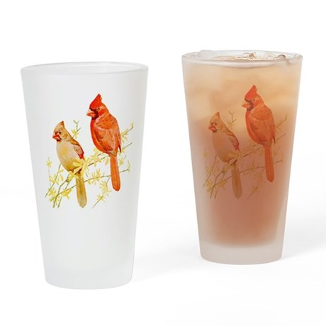 Red Cardinal Bird Drinking Glass