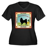 American Eskimo Women's Plus Size V-Neck Dark T-Sh