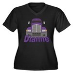 Trucker Dianne Women's Plus Size V-Neck Dark T-Shi