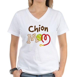 Chion Dog Mom Women's V-Neck T-Shirt