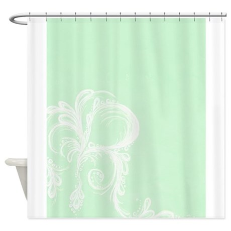 pale green and white tear shower curtain by niqiart