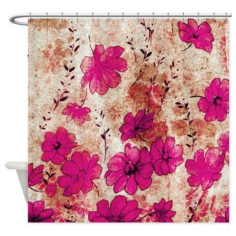 Grunge Floral Shower Curtain by designdiva ts2