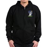 Starry-White German Shepherd Zip Hoodie (dark)