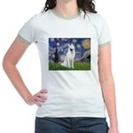 Starry-White German Shepherd Jr. Ringer T-Shirt