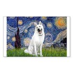 Starry-White German Shepherd Sticker (Rectangle)