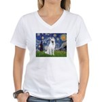 Starry-White German Shepherd Women's V-Neck T-Shir