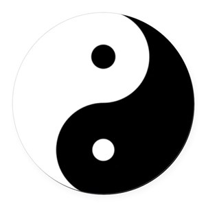 Black & White Yin Yang Round Car Magnet