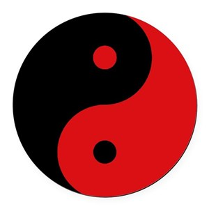 Black & Red Yin Yang Round Car Magnet