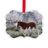 New Forest ponies in winter picture ornament