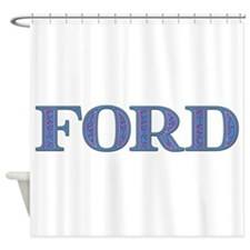 Ford Blue Glass Shower Curtain