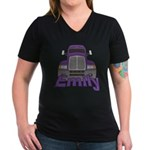 Trucker Emily Women's V-Neck Dark T-Shirt