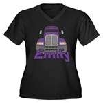 Trucker Emily Women's Plus Size V-Neck Dark T-Shir