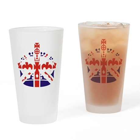 Union Jack Keep calm crown Drinking Glass