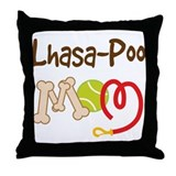 Lhasa-Poo Dog Mom Throw Pillow