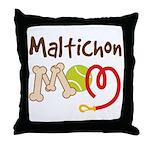 Maltichon Dog Mom Throw Pillow