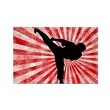 Martial Arts red sunburst Rectangle Magnet