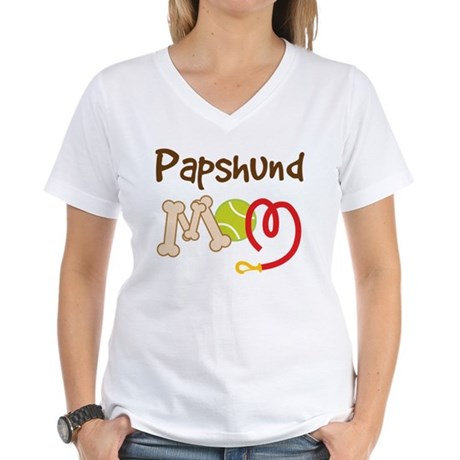 Papshund Dog Mom Women's V-Neck T-Shirt