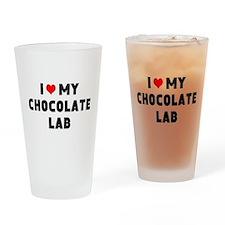I 3 my chocolate lab Drinking Glass