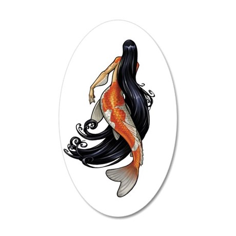 Koi Mermaid 35x21 Oval Wall Decal