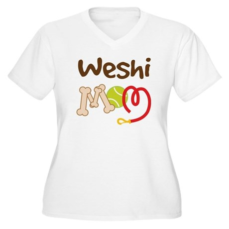 Weshi Dog Mom Women's Plus Size V-Neck T-Shirt