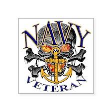 "USN Navy Veteran Skull Square Sticker 3"" x 3"""