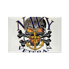 USN Navy Veteran Skull Rectangle Magnet (10 pack)