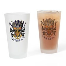 USN Navy Veteran Skull Drinking Glass