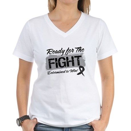 Ready Fight Melanoma Women's V-Neck T-Shirt
