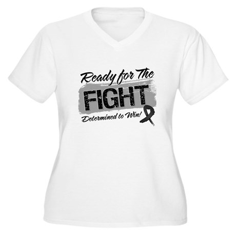 Ready Fight Melanoma Women's Plus Size V-Neck T-Sh