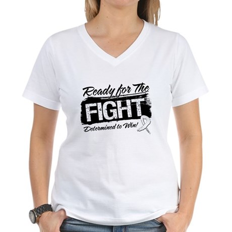Ready Fight Mesothelioma Women's V-Neck T-Shirt