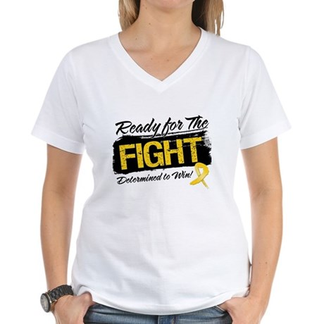 Ready Fight Neuroblastoma Women's V-Neck T-Shirt