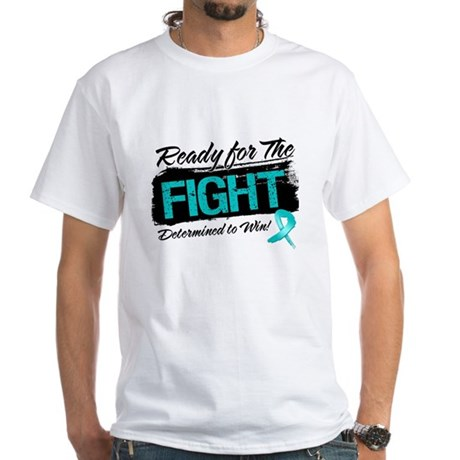 Ready Fight Ovarian Cancer White T-Shirt