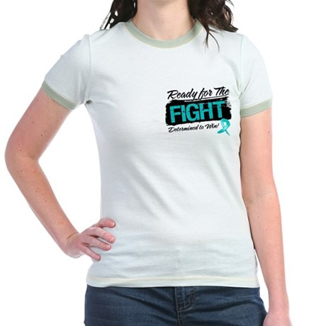 Ready Fight Ovarian Cancer Jr. Ringer T-Shirt