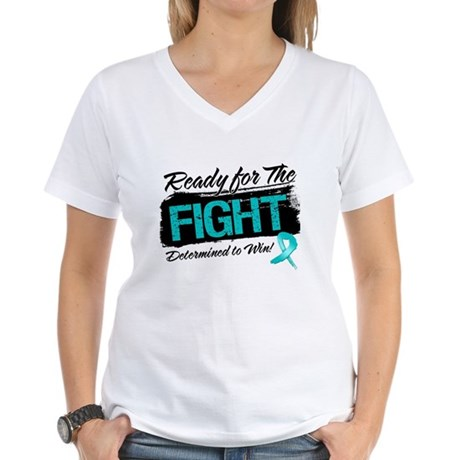 Ready Fight Ovarian Cancer Women's V-Neck T-Shirt