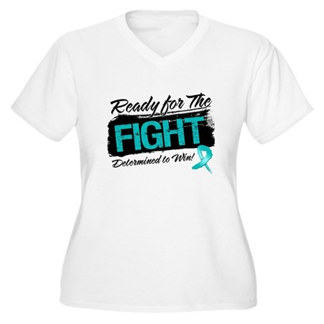 Ready Fight Ovarian Cancer Women's Plus Size V-Nec