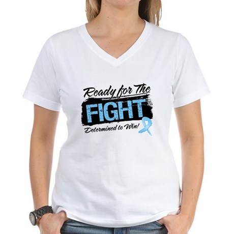 Ready Fight Prostate Cancer Women's V-Neck T-Shirt