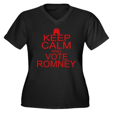 Keep Calm and Vote Romney Women's Plus Size V-Neck
