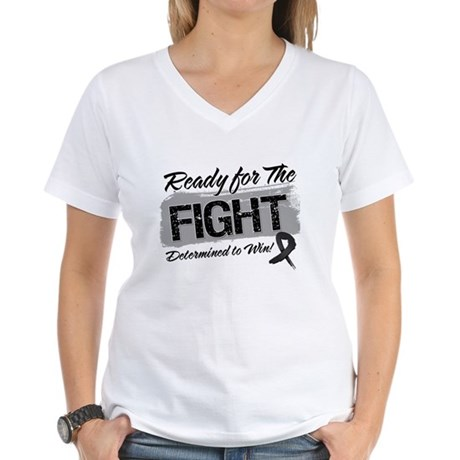 Ready Fight Skin Cancer Women's V-Neck T-Shirt
