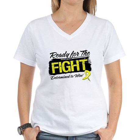 Ready Fight Testicular Cancer Women's V-Neck T-Shi