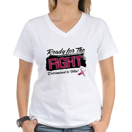 Ready Fight Throat Cancer Women's V-Neck T-Shirt