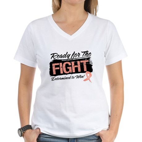 Ready Fight Uterine Cancer Women's V-Neck T-Shirt