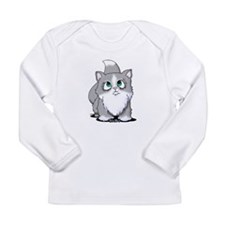 Gray & White Cutie Cat Long Sleeve Infant T-Shirt