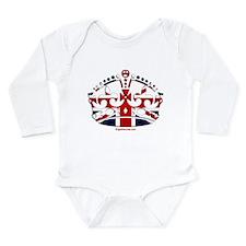 Royal British Crown Long Sleeve Infant Bodysuit