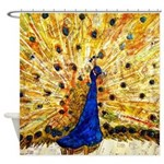 Piano Music Peacock Bathroom Shower Curtain