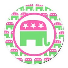 Preppy Republican Round Car Magnet