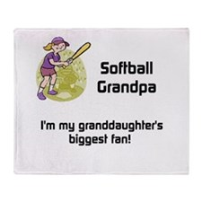 Personalized Softball Grandpa Throw Blanket