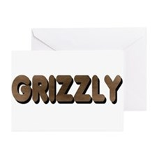 GRIZZLY-BROWN FELT LOOKING Greeting Cards (10Pk